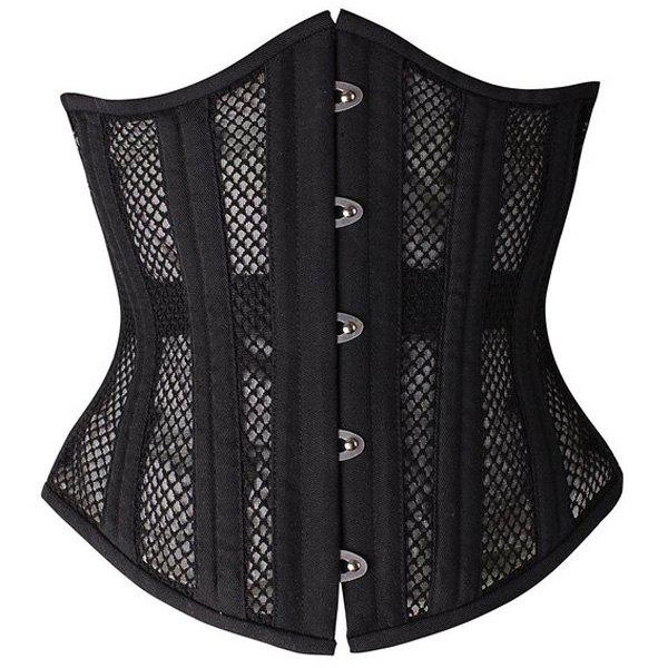 Chic Strapless Spliced Solid Color Lace-Up Women's Corset - BLACK XS