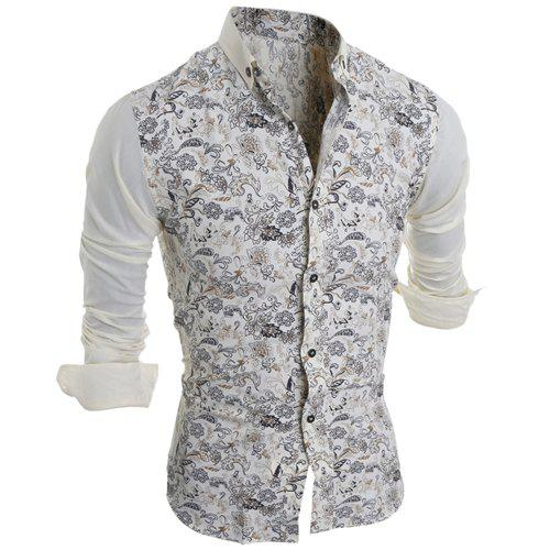 Turn-Down Collar Color Block Splicing Floral Print Long Sleeve Men's Shirt 163608004
