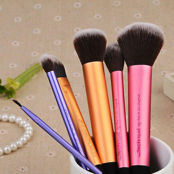 Professional 6 Pcs Aluminum Tube Handle Fiber Makeup Brushes Set - COLORMIX