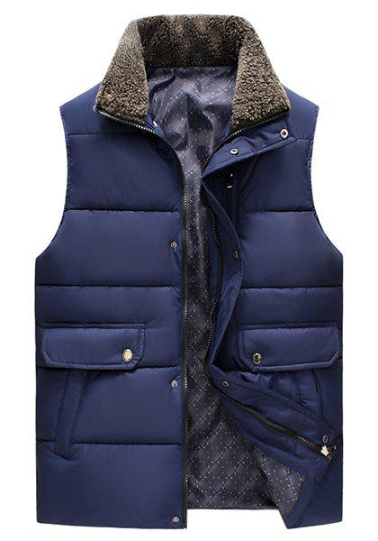Pockets Design Fleece Turn-Down Collar Sleeveless Cotton-Padded Men's Waistcoat - DEEP BLUE M