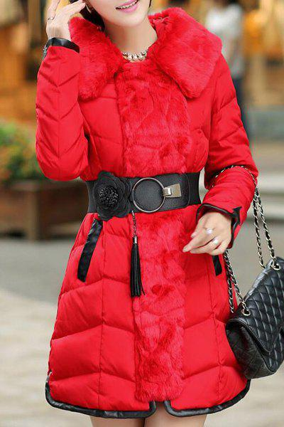 Chic Hooded Long Sleeve Pocket Design Spliced Women's Padded Coat - RED 3XL