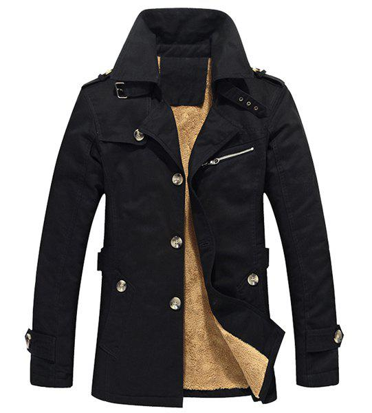 Multi-Button Zipper and Epaulet Design Turn-down Collar Long Sleeves Men's Thicken Trench Coat - BLACK 4XL