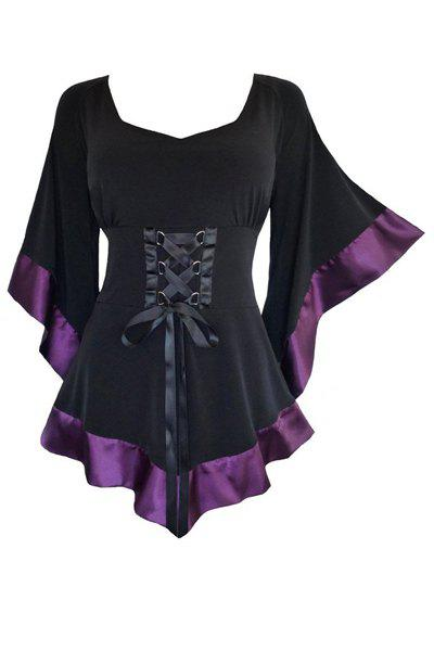 Chic Women's Sweetheart Neck Flare Sleeve Slimming Lace-Up Blouse - PURPLE S