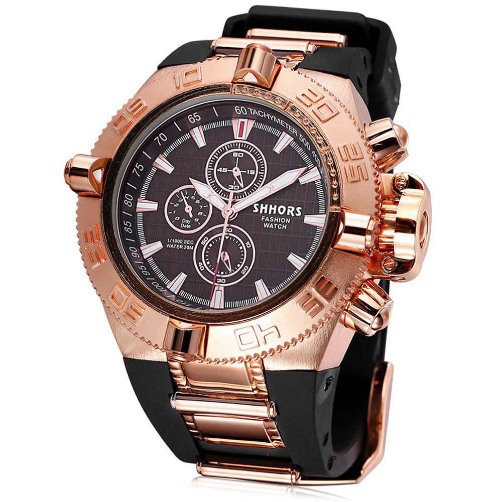 SHHORS 2730 Silicone Band Gear Case Quartz Watch for Men - ROSE GOLD