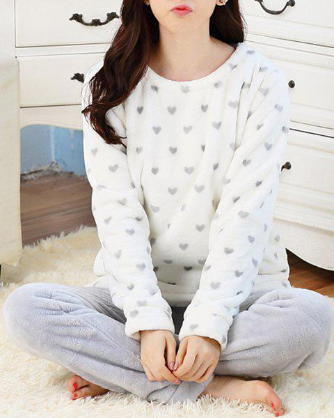 Stylish Scoop Neck Long Sleeve Heart Pattern Top and Pants Loungewear Suit For Women - WHITE L