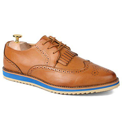 Fashion Engraving and PU Leather Design Formal Shoes For Men - BROWN 39