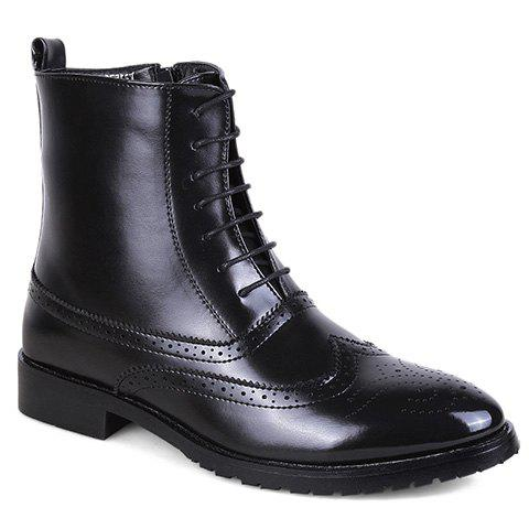 Fashionable Engraving and PU Leather Design Short Boots For Men - BLACK 43