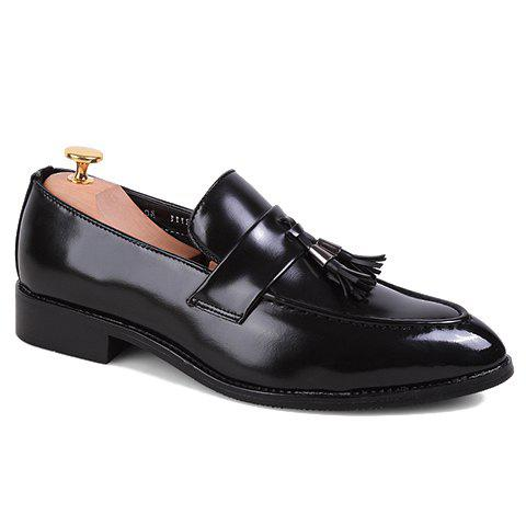 Fashion Tassels and PU Leather Design Formal Shoes For Men - BLACK 40