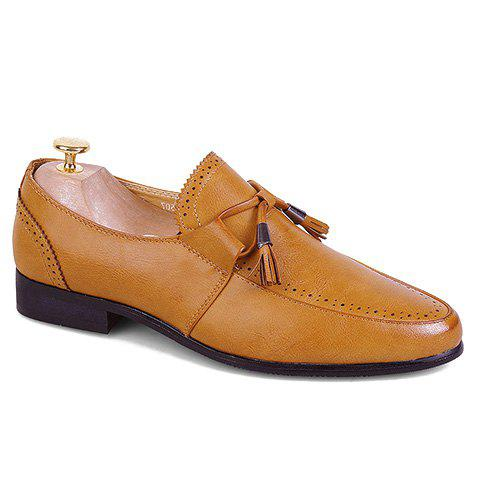 Stylish Pointed Toe and PU Leather Design Formal Shoes For Men - BROWN 39