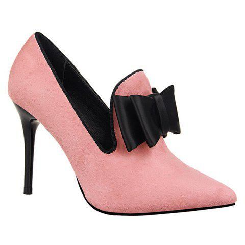 Charming Bowknot and Pointed Toe Design Pumps For Women - PINK 35