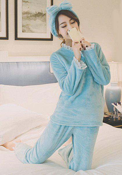 Sweet Candy Color Ruffles Collar Flannel T-Shirt and Pants Pajama Suit For Women