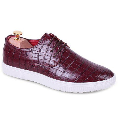 Fashion Crocodile Print and Lace-Up Design Casual Shoes For Men - WINE RED 41