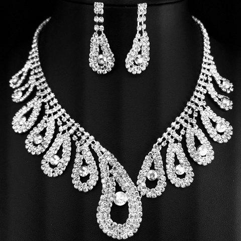 A Suit of Noble Hollow Out Water Drop Necklace and Earrings For Women - WHITE GOLDEN