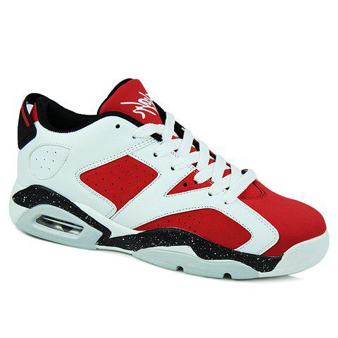 Fashionable Colour Block and PU Leather Design Sneakers For Men - RED 44
