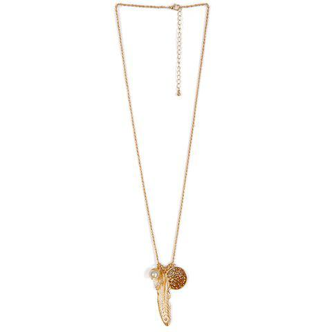 Faux Pearl Leaf Feather Sweater Chain - GOLDEN