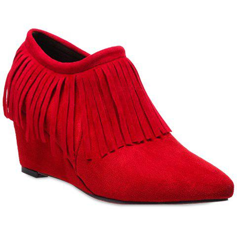 Simple Fringe and Wedge Heel Design Ankle Boots For Women - RED 39