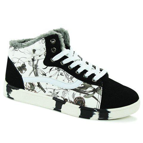 Fashion Floral Print and PU Leather Design Men's Casual Shoes - WHITE 41