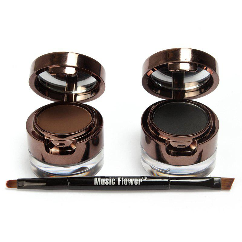2 Pcs 2 Colours Double-Layer Gel Eyeliner and Brow Powder with Double-End Brush - COLORMIX