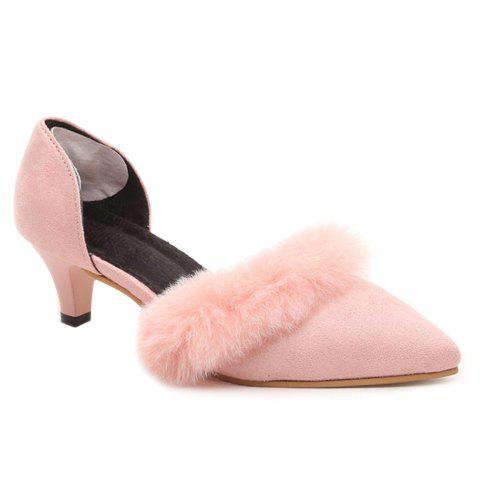 Stylish Pointed Toe and Faux Fur Design Pumps For Women