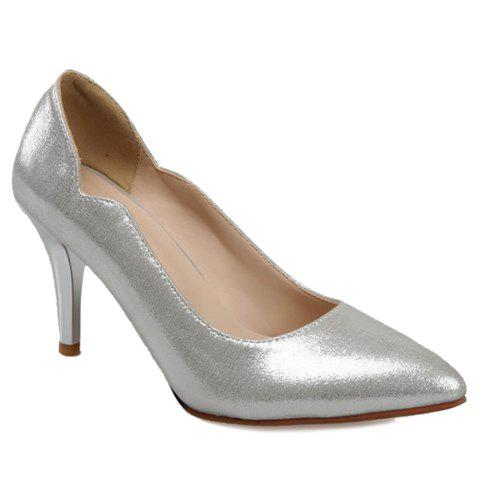 Elegant Pointed Toe and Solid Colour Design Pumps For Women - SILVER 37