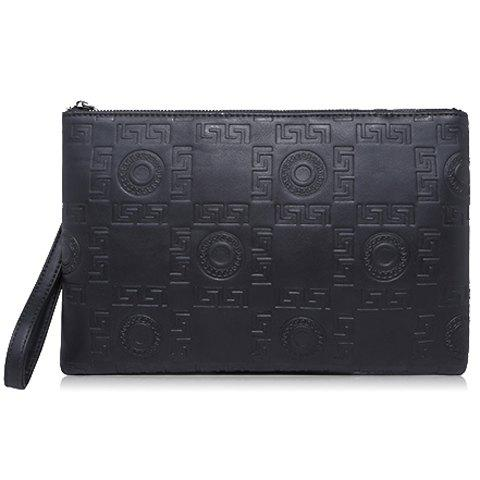 Stylish Embossing and Zip Design Clutch Bag For Men - BLACK