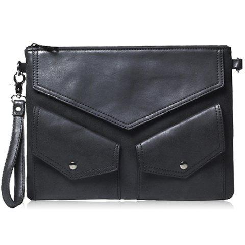 Stylish Black and PU Leather Design Men's Clutch Bag