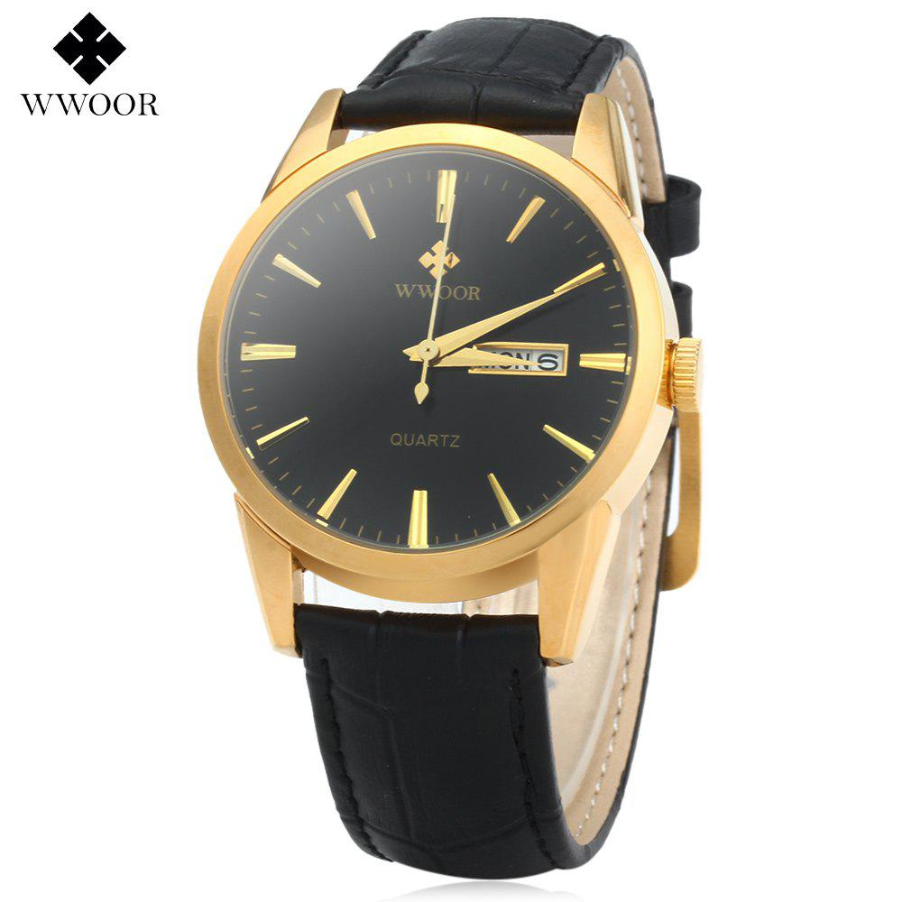 WWOOR 8801 Men Quartz Watch 30M Water Resistant Date Week - GOLDEN BLACK BLACK