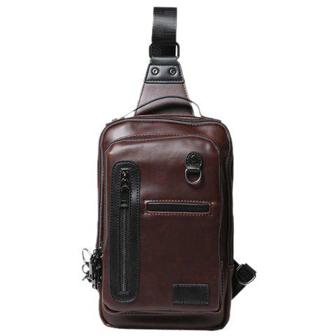 Fashionable PU Leather and Solid Colour Design Chest Bag For Men - COFFEE