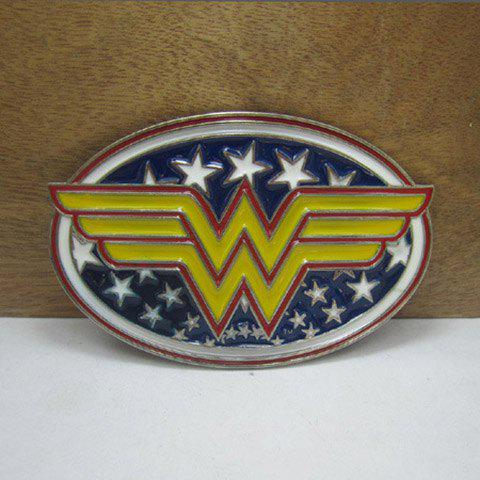Stylish Cartoon Movie Wonder Woman Mark Shape Design Belt Buckle For Men - YELLOW