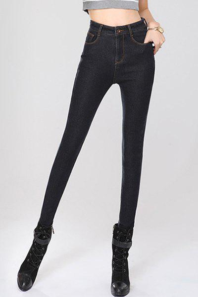 Attractive Stretchy High Waist Solid Color Bodycon Fleeced Jeans For Women - BLACK L