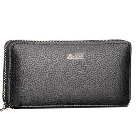 Casual Lichee Pattern and PU Leather Design Clutch Bag For Men - BLACK