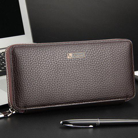Casual Lichee Pattern and PU Leather Design Clutch Bag For Men - COFFEE