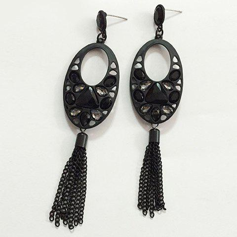 Pair of Faddish Faux Crystal Oval Earrings For Women - BLACK