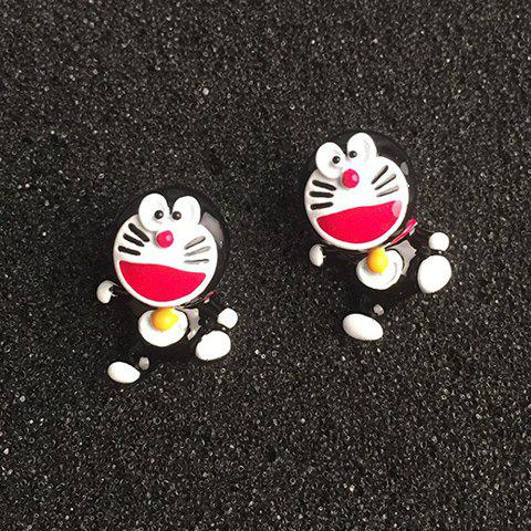 Pair of Faddish Doraemon Shape Earrings For Women - BLACK