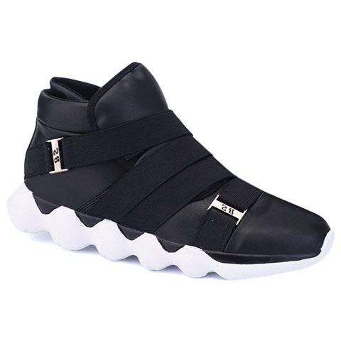 Fashion Strap and PU Leather Design Sneakers For Men - BLACK 39