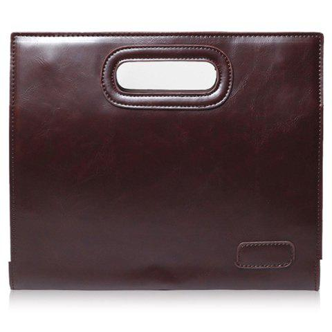 Trendy Solid Colour and PU Leather Design Clutch Bag For Men - COFFEE