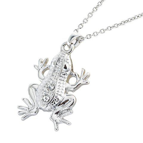 Delicate Rhinestone Frog Shape Pendant Necklace For Women
