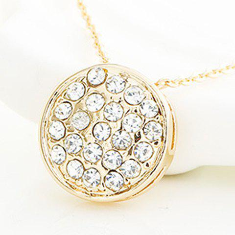 Stunning Rhinestoned Round Pendant Necklace For Women -  ROSE GOLD
