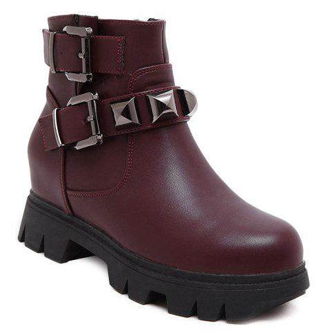 Stylish Rivet and Hidden Wedge Design Short Boots For Women - 37 WINE RED