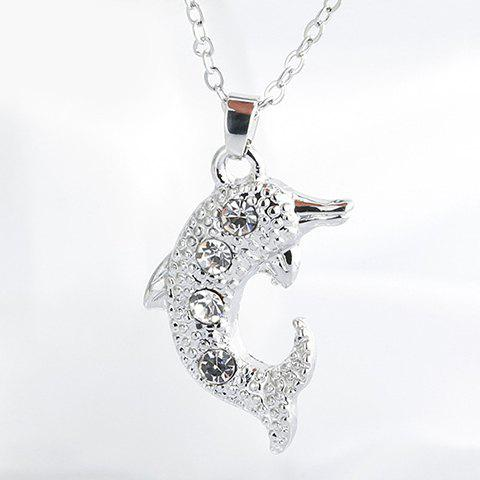 Charming Rhinestone Dolphin Shape Pendant Necklace For Women - SILVER