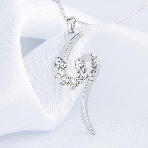 Graceful Rhinestone S-Shaped Pendant Necklace For Women - SILVER