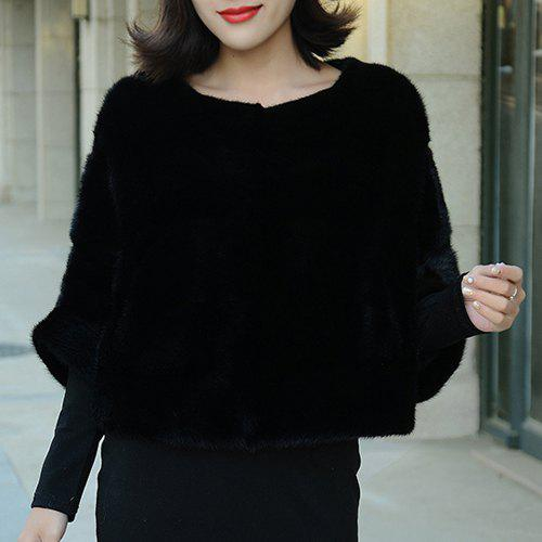CaBat Sleeve Fake Fur Pullover Candy Color Coat For Women - BLACK ONE SIZE(FIT SIZE XS TO M)
