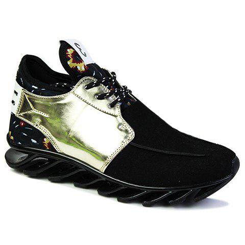 Trendy Floral Print and Splicing Design Athletic Shoes For Women - BLACK/GOLDEN 42