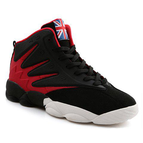 Fashionable Suede and Colour Block Design Athletic Shoes For Men - RED 39