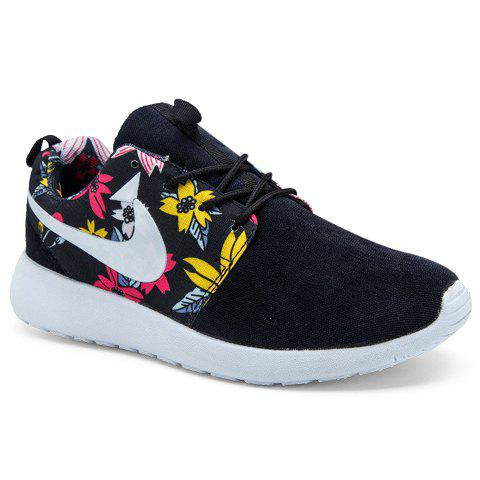 Trendy Lace-Up and Flower Print Design Casual Shoes For Men - BLACK 44