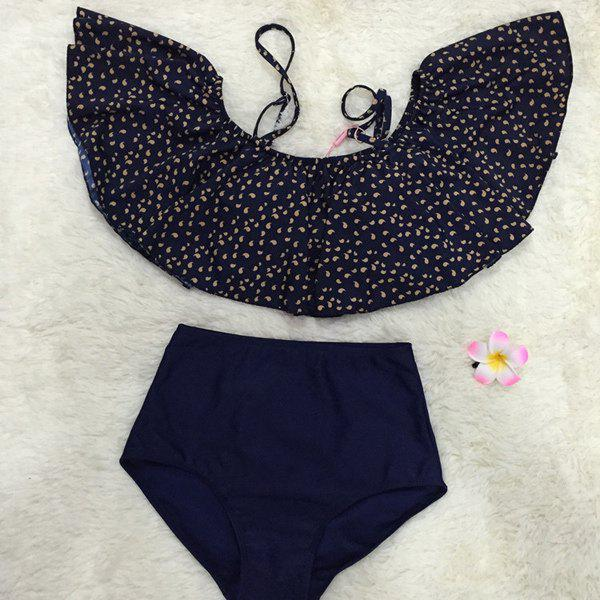Vintage Women's Strappy High-Waisted Print Two-Piece Swimsuit - BLUE XL