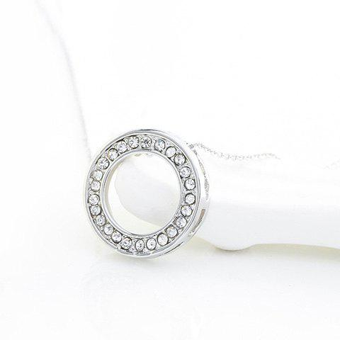 Vogue Rhinestoned Hollow Out Round Shape Pendant Necklace For Women - SILVER
