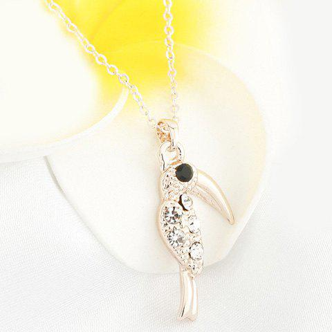 Fashionable Rhinestoned Woodpecker Shape Pendant Necklace For Women - ROSE GOLD