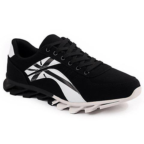 Concise Suede and Colour Block Design Athletic Shoes For Men - BLACK 42