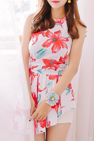 Stylish Women's Round Neck Floral Print Hollow Out One-Piece Swimsuit